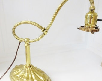 Antique Table Lamp Brass Cast Iron