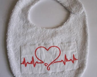 White heart bib for baby 0-24 months