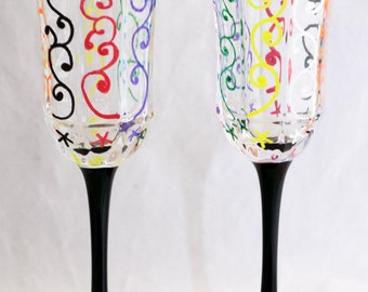 Champagne Flutes - Ornamental Design - Hand Painted