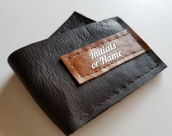 Handmade leather wallet with name or initials
