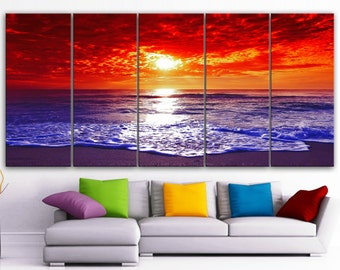 "XLARGE 30""x 70"" 5 Panels Art Canvas Print Beach Sunset Wall Home Decor interior (Included framed 1.5"" depth)"