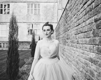 Dove - Grey Tulle Ballgown Dress - Made to Order