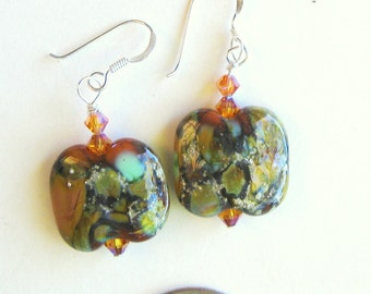 Sterling silver dangle earrings made with SRA lampwork pillow frit beads and topaz color AB2X Swarovski crystals