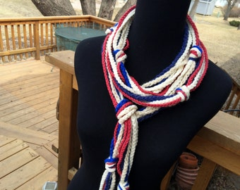Crochet Strand Scarf - Americana - Red White and Blue