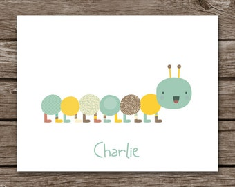 PRINTABLE Caterpillar Note Cards, Caterpillar Cards, Personalized Note Cards