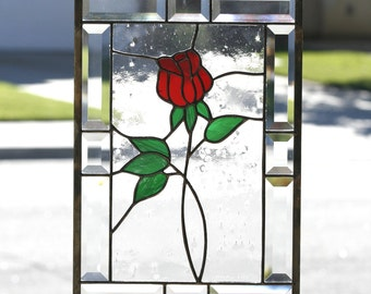 "Stained Glass Window Panel~""RED ROSE""~Contemporary Stain Glass Panel, Red Rose, Clear Bevels,  Romantic, Clear Bevels, Beveled,Ready to Ship"