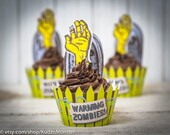 Zombie Birthday Party Printable decor cupcake kit instant download print at home cupcake toppers cupcake wrappers zombie hand grave funny