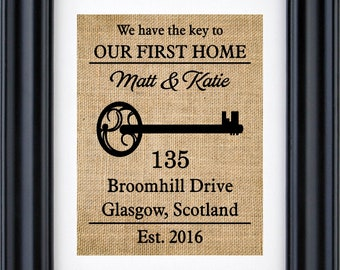 Our First Home, Personalized home gift, Custom First home sign, Personalized housewarming gift, First home decor,Burlap print-4G