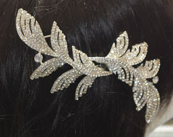 Crystal Hair Comb, Wedding Hair Comb, Bridal Hair Comb,  Pearl Hair Comb, Floral Hair Comb, Bridal Headpiece,Swarovski shine #30560