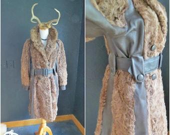 1970's Mongolian Lamb Fur Coat. Curly Fur Long Coat. Belted 70's Coat. Eilers Master Furries. Size S/M. | CuriousMooseVintage