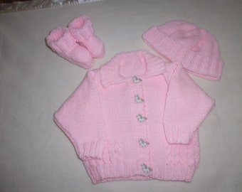 Hand knitted baby set. Made to order.
