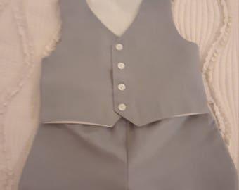 Linen Wedding Ring Bearer Outfit,  Baptism,  Wedding Vest and Shorts