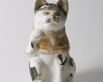 Antique Maneki Neko / Antique Japanese Cat / Beckoning Cat / Okimono  / Rare Maneki Neko / Mingei / Meiji Period  / Japanese Chalkware Clay