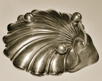 large silver plated victorian shell dish
