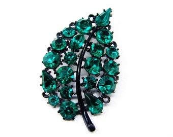 LISNER Rhinestone Brooch, Emerald Green, Japanned Brooch, Leaf Pin, 1960s Jewelry, Black Green Brooch