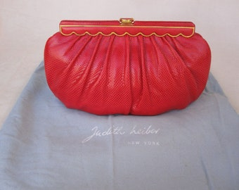 Judith Leiber Vintage 80s Red Karung Lizard Snake Skin Convertible Shoulder Bag and Clutch - FREE SHIPPING