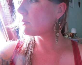 Dance - Dramatic Brass Earrings - Grey Moonstone Earrings - Artisan Tangleweeds Jewelry