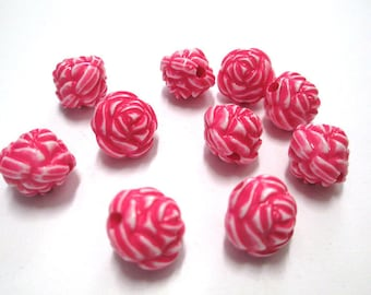 10 Pearl Pink Flower acrylic 13mm