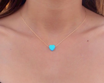 Opal necklace, heart necklace, gold necklace, opal heart necklace, blue opal necklace, october birthstone, blue opal jewelry, gift for her