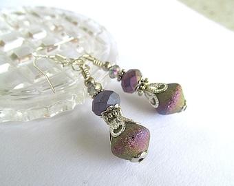 Fairy Dust Earrings, Bismuth, Silver Earrings, Czech Glass Bead Earrings, Bohemian Earrings, Moonlilydesigns, FTD Awareness
