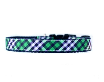 5/8 or 3/4 Inch Wide Dog Collar with Adjustable Buckle or Martingale in Navy and Green Plaid