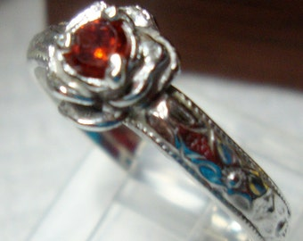 Rose ring, sterling silver - custom size, sapphire, earth friendly -  birthstone - Romance -  I make it by hand in the USA