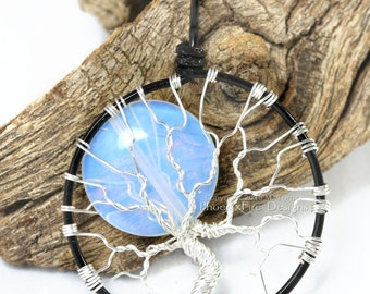 Tree-of-Life Pendant Full Moon Opalite Rainbow Moonstone Necklace YOUR CHOICE Multicolor Two Tone Wire Wrapped Jewelry Luna Lunar Mystical