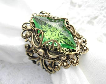 Peridot Czech Glass and Antiqued Brass Ring- Green Glass Ring- Morning Glory Designs