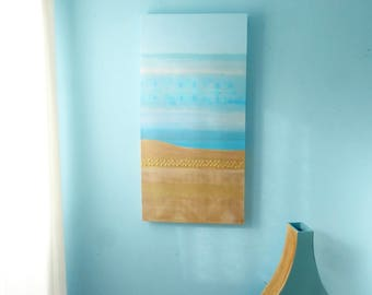 Turquoise & gold beachscape painting on deep edge canvas