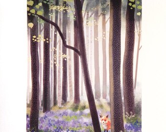 Fox in a Spring Bluebell Forest Print of Original Illustration