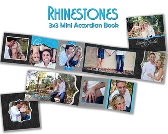 INSTANT DOWNLOAD - 3x3 Accordion mini template - Rhinestones - 0017