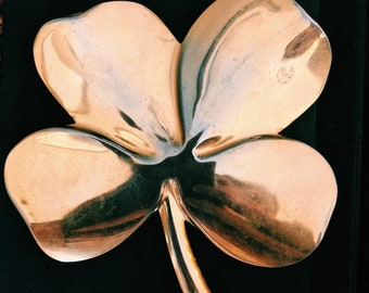 Vintage 24k Gold Plated Lucky Four Leaf Clover Paperweight