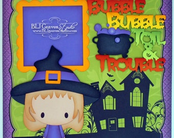 Halloween Witch Boy Girl Premade Scrapbook Page 12x12 Layout Paper Piecing Handmade 19