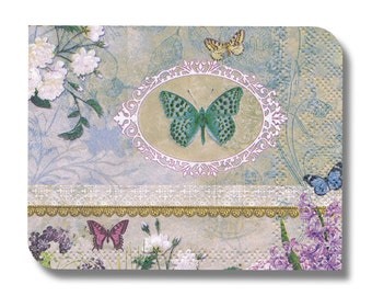 Floral paper napkin for decoupage, mixed media, collage, scrapbooking x 1 (cocktail). Butterfly cameo. No 1064