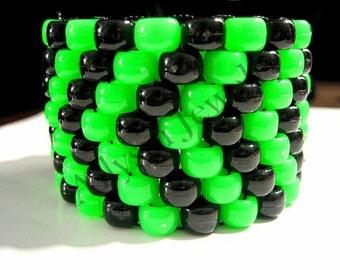 Green, Black Kandi Cuff Bracelet, Toxic Chevron Kandy, Rave Plur Jewelry