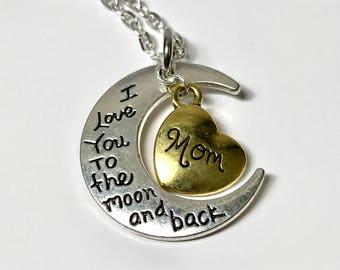 I Love You to the Moon and Back Key Chain or Necklace with Mom, Grandma or Aunt Heart Charm - Mother's Day, Birthday