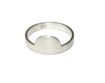 LUNA Solid Sterling Silver Half Moon Matte Geometric Ring - Handmade in Australia