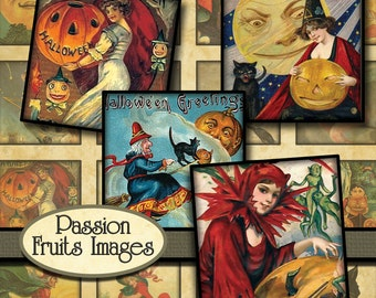 "Vintage Halloween  Digital Collage Sheet  1 1/4"" x 1 1/4"" Squares-- Instant Download"