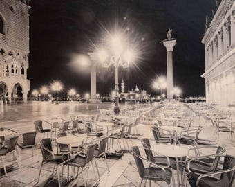 Italian Holiday, 'Venice Nights #4' Limited Edition, Image Transfer on Wood Panel by Patrick Lajoie, photo art block, italy photography