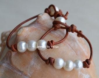 Three Pearls On Leather Bracelet Set for Mother And Daughter Three Wishes For Mother and Daughter Boho Bohemian Beach Jewlery Yevga