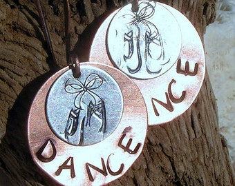 Hand stamped Copper and Brass Earrings, Dance and Shoes,Jewelry