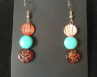 Red/Turquoise colored beaded earrings.