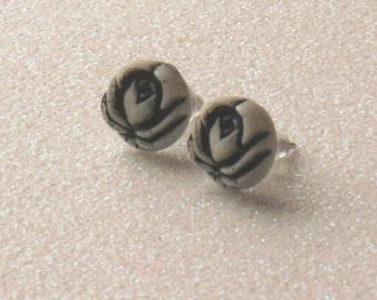 Vintage Black and White Stone Rose Stud Earrings