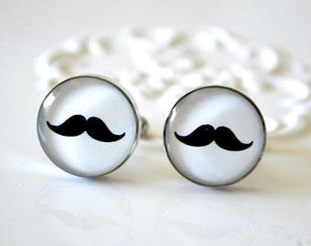 Mustache cufflinks, timeless mens jewelry keepsake gift, classic cuff link accessories (J009)