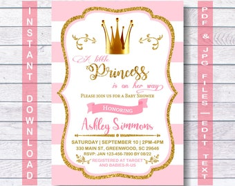 Princess Baby Shower Invitation, Instant Download, princess party, Princess Invite, Pink, Gold, Royal, A little Princess is on her way!
