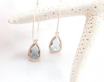 Black Diamond earrings, modern earrings, hoop earrings, gold hoop earrings, smoky gray earrings, gold dangle earrings, dangle earrings
