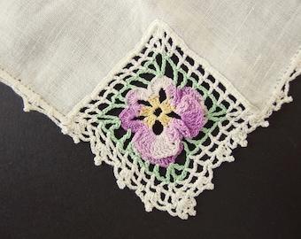 Purple Pansy Handkerchief, Vintage Off White Linen Hand Made Hankie