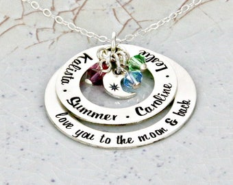 """Personalized """"love to the moon & back """" loop necklace with up to 5 crystals - Mother Necklace - Mother Jewelry - Birthstone Necklace"""