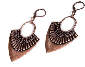 Boho Earrings, Gypsy Earrings, Copper Dangle Earrings, Tribal Earrings Hoop Earrings, Everyday Earrings, Boho Jewelry, Steampunk Boutique
