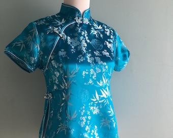 Vintage Cheongsam Shirt//Teal Blue//Traditional